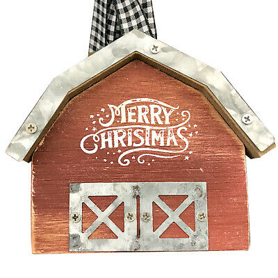 Wooden Merry Christmas Red Country Barn Tree Ornament Farm Gingham Ribbon