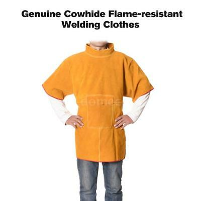 Genuine Cowhide Leather Welding Jacket Heavy Duty Welding Clothes C6D8