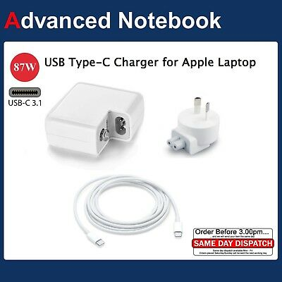 """87W USB-C AC Charger for Apple 15"""" A1707 MacBook Pro With Thunderbolt 3 Type C"""