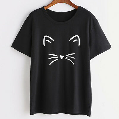 Women Ladies Summer T-shirt Cat Print Round Neck Short Sleeve Slim Fit Girl Gift