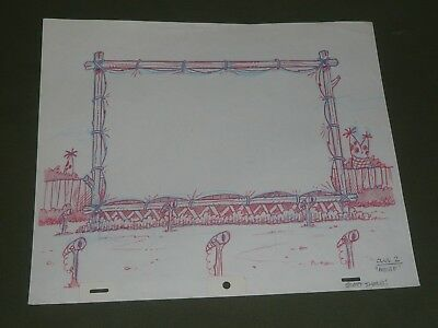 Flintstones Original Hand Drawn Background Production Art by Scott Shaw Drive In