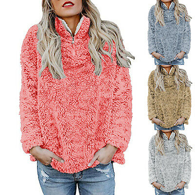 Women Fleece Fluffy Fuzzy Shaggy Casual Sweater Plain Pullover Blouse Jumper Top