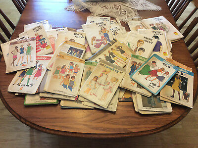 Lot of 50 Vintage Simplicity,McCalls,Kwik-Sew Sewing Patterns + 1 Iron On Kit