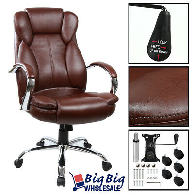 Executive Office Chair Swivel PU Leather High Back Desk Task Computer [Brown]