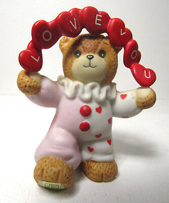 Lucy & Me ~ LOVE YOU Jester Pink Red Clown Banner of Hearts ~ Enesco Figurine