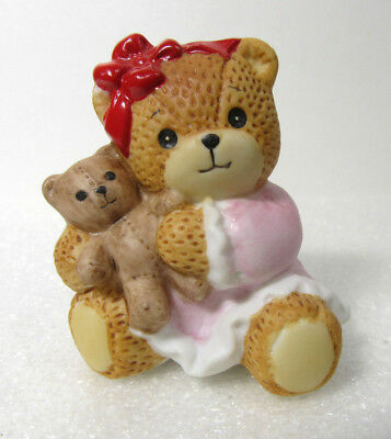 Lucy & Me ~ Little Baby Lucy GIRL Holding Teddy Bear ~ Rigg Enesco Figurine