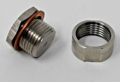 O2 Oxygen Sensor Stainless Steel Weld On Bung & Plug Wideband Nut & Cap Kit Set