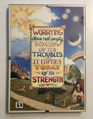 Mary Engelbreit Worrying Quote Wall Hanging Plaque