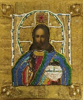 Ikonworld: Antique Rare 19C Hand Painted Russian Icon Of Christ Beaded