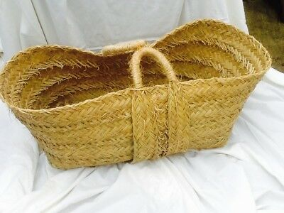Large Esparto Grass Fireside Log Carrier Basket With Handles.  New