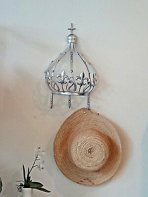 large crown SILVER coat hanger  NEW wrought iron. (French)