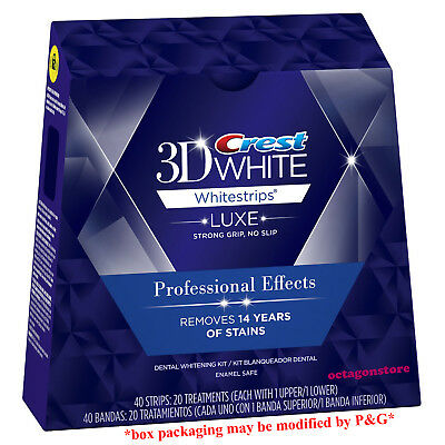 20 Pouches 40 Strips Crest 3D Luxe Whitestrips Professional Effects Whitening