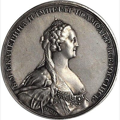 Nd(1768) Russia Catherine Ii The Great Silver Medal Pcgs Sp-61 L@@k