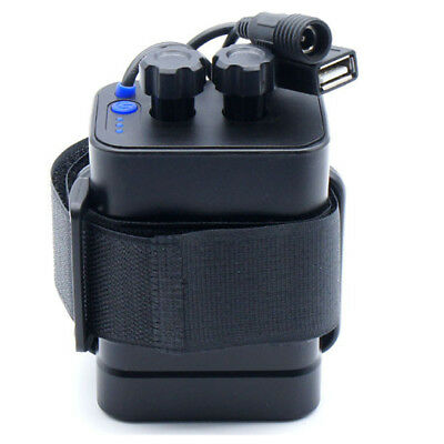 Waterproof With cable USB 5V/DC 8.4V 6x 18650 Battery Storage Case Box (Black)