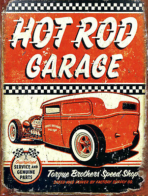 Hot Rod Garage, Retro metal Aluminium Sign vintage / man cave / Garage