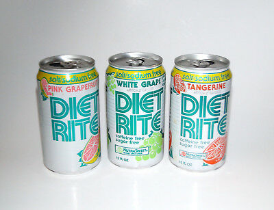3 Diet Rite Vintage 90s Royal Crown Cola Co Aluminum Stay Tab