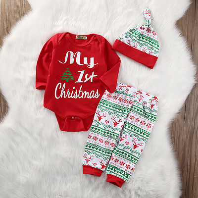 Newborn Baby Boys Girls 1st Christmas Cotton Romper Tops Pants Hat Outfits Set