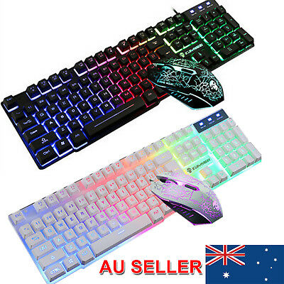 New!New T6 Rainbow Backlight Usb Ergonomic Gaming Keyboard and Mouse Set AU