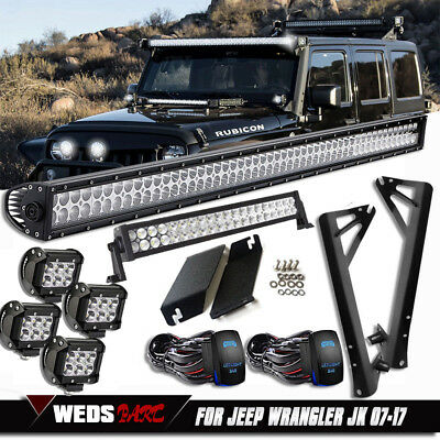 "52"" 700W +20"" +2x 4"" LED Work Light Bar +Mounting Kit For Jeep Wrangler JK 50 22"
