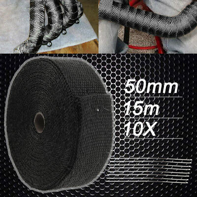 Local Wrap 50mm X 15m + 10 Stainless Steel Ties Black Exhaust Heat 2000f Au