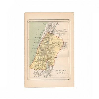 Antique color map of Palestine from the 1875 American Cyclopædia