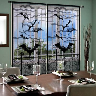 1pcs Window Curtain Spooky Decorative Lace Spider Web Door Curtain for Halloween