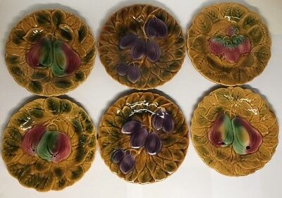 Lot2 De 6 Assiettes En Barbotine Sarreguemines France Décor Fruits D 19,5 Cm