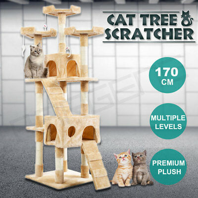 170CM Cat Tree Scratching Post Sisal Pole Condo Toy House Furniture Multi level