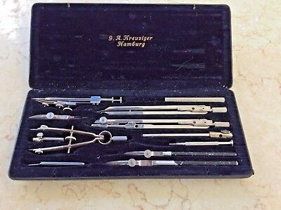 ANTIQUE CASED DRAWING SET by G.A. FREUZIGER of HAMBURG, GERMANY.