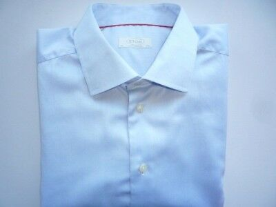 "ETON Men's Shirt 17.75"" / 45 cm Contemporary Fit Long Sleeve Single Cuff Blue"