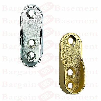 4 OVAL WARDROBE HANGING RAIL END SUPPORT BRACKETS BRASS/CHROME ENDS 15mm x 32mm