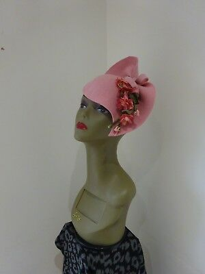 'Audrey' 1940s Inspired  Regal Pink Felt Sculptured Hat With Pink Faux Roses