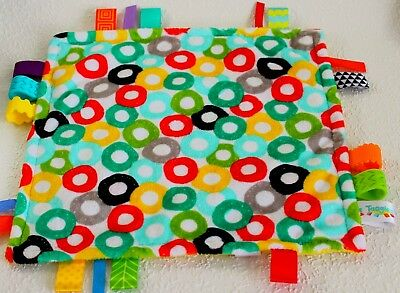 BRIGHT STARTS TAGGIES LITTLE TAGGIES BLANKET circles baby comforter Blankie