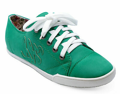 Womens Girls Green Lace-Up Plimsoll Pumps Trainers Sport Flat Shoes Sizes 3-8
