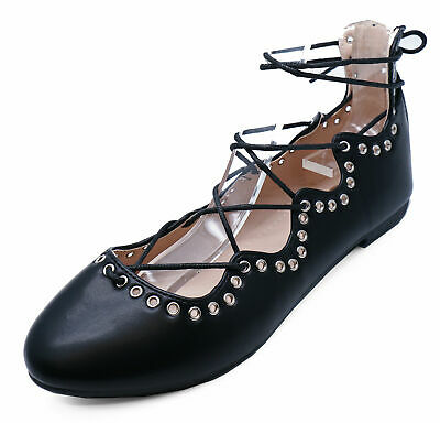 Womens Flat Black Lace-Up Gladiator Pumps Dolly Ballet Comfy Shoes Pump Size 3-8