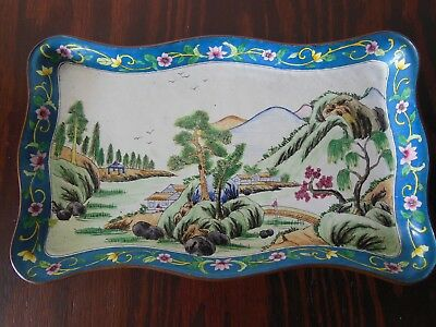 Beautiful Antique Canton Chinese Enamel *Tray *Plate *Platter with Asian Scene