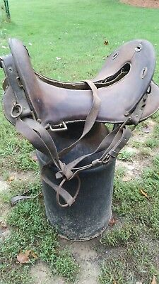 "Vintage Army Horse Saddle 12"" Leather"