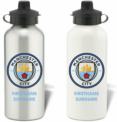 Personalised Manchester City FC Bold Crest Water Bottle - Free Delivery