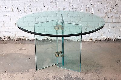 1970s Brass and Glass Round Dining Table In The Style of Leon Rosen for Pace