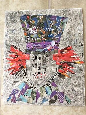 A4 Mad Hatter - Collage Artwork - Quirky- Alice In Wonderland- Flat Canvas Board