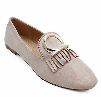 Womens Beige Flat Slip-On Loafers Casual Faux Suede Work Shoes Pumps Sizes 3-8