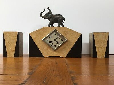 Large Art Deco French Marble Mantel Clock with Vases and Trumpeting Elephant !