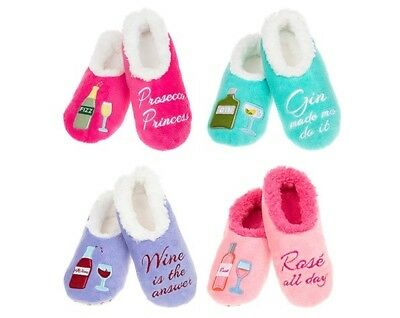 Ladies Snoozies Slippers Socks Lovely Gift Gin Wine Prosecco Rose Red Wine