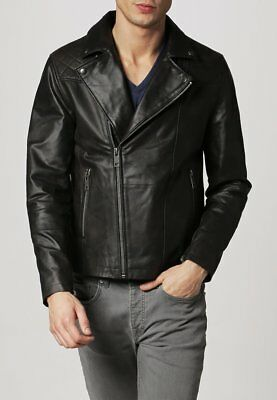 Mens Motorcycle Black Leather Jacket Quilted Jacket Size S M L XL XXL Custom Fit