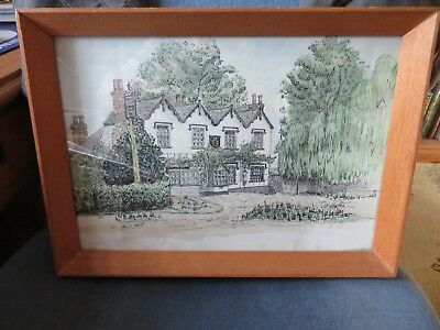 Framed pen and ink painting with colour wash of Headley Arms Great Warley Essex