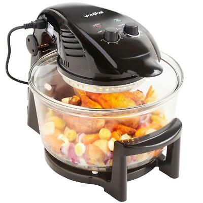 Large Capacity 12L Black Halogen Oven (Hinged Lid) With Healthy Option New