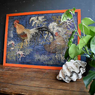 19th Century Japanese Silkwork Rooster and Hen - Antique Victorian Embroidery