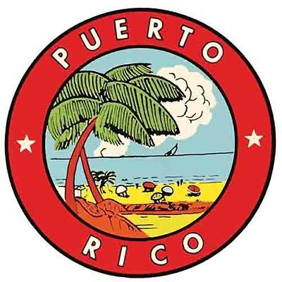 Puerto Rico circle San Juan Caribbean Vintage 1950's Style  Travel Decal Sticker