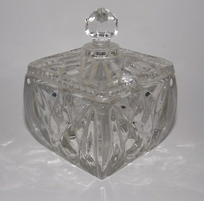 Square Crystal Glass Sugar Bowl Lidded Diamond Pattern Vintage