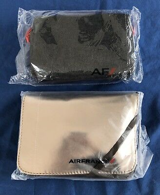 2 Different NEW UNOPENED Air France Amenity Kits Toothbrush Eye Mask Socks Bag